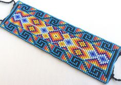 Mexican Huichol Loom Beaded Bracelet by Aramara on Etsy https://www.etsy.com/listing/257309664/mexican-huichol-loom-beaded-bracelet