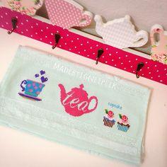 Cross stitch tea,cupcake towel