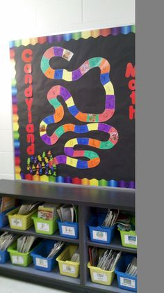 Candyland math as students master math facts. I thought I could do jungle math to fit my theme Candy Theme Classroom, Candy Land Theme, Classroom Walls, School Classroom, Classroom Ideas, Kindergarten Classroom, Board Game Themes, Board Games, Candyland Games