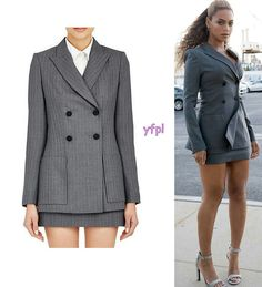 Beyoncé wearing PALLAS Double-Breasted Blazer $2,005 & Worsted Miniskirt $945 at the Premiere of Hands of Stone in New York City 22nd August 2016