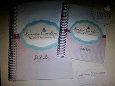Caderno universitário de pedidos + agenda de gastos + cartão de visita