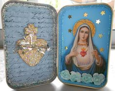 So I am thinking make the outside of an altoid tin into a Christmas ornament but the inside a shrine to loved ones past