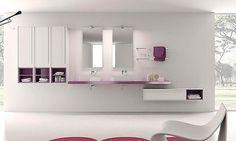 meuble bas latéral laqué avec plan autoportant pour vasques à poser et miroir Inda PFS