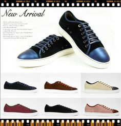 Lanvin-Italy summer style luxury brand designer men LAN * LAn Vin man shoes shoes iron gray leather lace low flat casual shoes