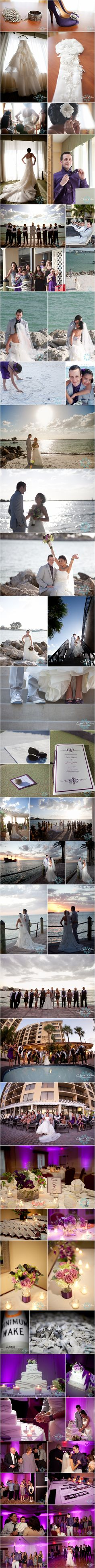 Beautiful destination wedding on Clewarwater Beach. Purple and gray I love it!