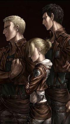 Shingeki no Kyojin attack on titan aot titan trio Armin, Mikasa, Levi X Eren, Titan Shifter, Aho Girl, Female Titan, Annie Leonhart, Connie Springer, Joining The Military