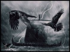 Huginn and Muninn protecting the voyage through the storm.