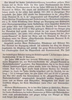 """Auszug aus """"Die wirtschaftliche Entwicklung des Kreises Altenkirchen"""" 1926 - S. 116 f - die Wissener Bierbrauerei -  gegründet 1884 von J. Haas"""