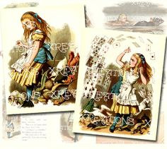 36 Alice in Wonderland colored prints set by John Tenniel in 2x3 inches - digital collage sheet