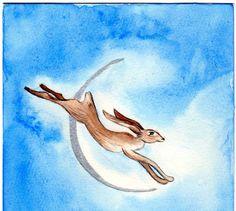 Blue moon hare  print by Oakmoon on Etsy, £5.00