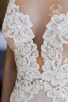 Boho encaje vestido de novia flaco sirena slinky bordado | Etsy