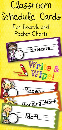 Classroom Write and Wipe Schedule Cards for Boards and Pocket Charts