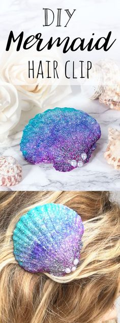 Mermaid shell hair clip craft, beautiful mermaid craft idea. Ombre painted sea shells. Scallop shell crafts, perfect for fancy dress, festivals and more! Make your own mermaid accessories, jewellery, necklaces etc using this technique!