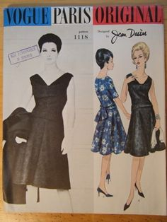 Vogue Paris Original 1118; ca. 1962; Jean Dessès - One Piece Dress. Bodice is sleeveless or has above elbow length sleeves. Deep cowl neck-line; flared skirt joins bodice at dropped waistline. Low sash loops at back.  Featured in Vogue Pattern Book Early Spring 1962