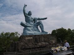 The Nagasaki Peace Park. The statue's right hand points to heaven; the left hand points toward Urakami Cathedral.