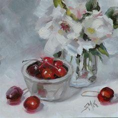 """Life is just a Bowl of Cherries"" - Original Fine Art for Sale - ©Sandra Kavanaugh"