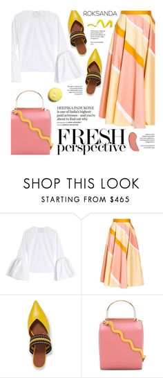 """Fresh Perspective with Roksanda"" by federica-m ❤ liked on Polyvore featuring Roksanda, Malone Souliers, NYX, yellow, Pink, mules, roksanda and bellsleeves"