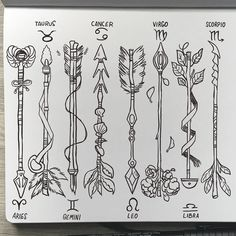 Zodiac arrows 🌞✨ Something I've been doodling while uploading patrons rewards. I think I might color them later! - Oh btw THIS IS A CROPPED PICTURE! I'm still inking the others xD Bull Tattoos, Arrow Tattoos, Star Tattoos, Dope Tattoos, Music Tattoos, Zodiac Symbols, Zodiac Art, 1 Tattoo, Back Tattoo