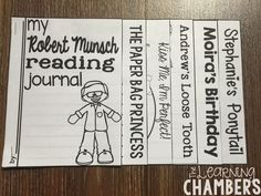 Author Study flap journal for Robert Munsch. Includes several different reading comprehension activities that are perfect for an author study unit.