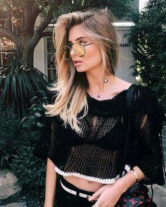 Blusa preta de tricô vazada, transparente, Xenia
