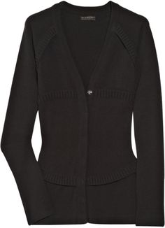 Burberry Prorsum Ribbed Wool-blend Cardigan in Black (brown)