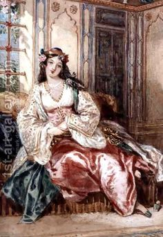 Alfred-Edward Chalon:A Lady Seated in an Ottoman Interior Wearing Turkish Dress, 1832
