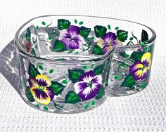 Painted Heart Bowl With Purple Pansies Easter by ipaintitpretty #paintedheartbowl #eastergift #homedecor #mothersdaygift #birthdaygift