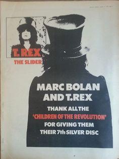 "T Rex Marc Bolan Original Advert 16 X 12"" Poster Size 21 Oct 1972 from $18.43"