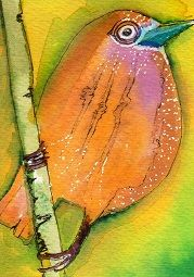 """Orange She Pr"" ATC watercolor. Bonnie Tincup"