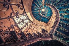 Blue Spiral Staircase Abandoned European Castle