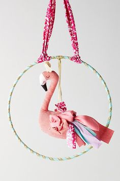 Slide View: 1: Fanciful Flamingo Wall Hanging