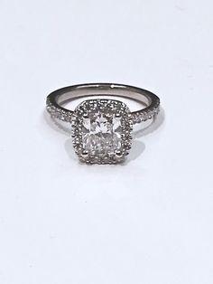 Custom Made Cushion Cut Halo Engagement Ring Custom Made Engagement Rings, Halo Engagement, Cushion Cut Halo, Custom Jewelry Design, Shower Ideas, Bridal Shower, Fine Jewelry, Silver Rings, Wedding Rings