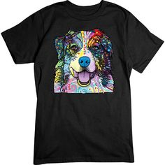 [Basic Tee] - Neon Australian Shepherd - Artopia   Our crew neck tee is made with 4.5 oz. 100% super soft combed ring-spun cotton and is preshrunk.