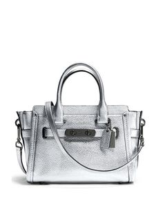 Coach Swagger Satchel 27 in Metallic Pebble Leather