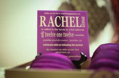 Purple square acrylic Bat Mitzvah invitation.