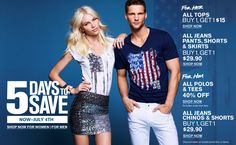 5 Days To Save at Express: All Tops for Her: Buy 1, Get 1 $15, All Polos & Tees for Him: 40% off