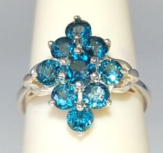 Gorgeous London Blue 9 Stone Ring Size 8 by WindstoneDesigns, $64.95