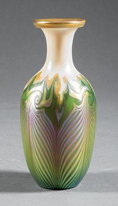 Quezal Iridescent Art Glass Vase                                                                                                                                                     More