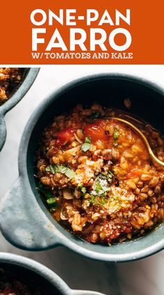 One-Pan Farro with Tomatoes and Kale! This One-Pan Farro with Tomatoes and Kale is a straight-up DREAM! Rustic farro cozied up to cherry tomatoes, onions, garlic, and kale. So good and so wholesome! #farro #tomatoes #kale Kale Recipes, Vegetarian Recipes, Cooking Recipes, Healthy Recipes, Vegetarian Dinners, Cooking Ideas, Dinner Entrees, Dinner Recipes, Kitchens
