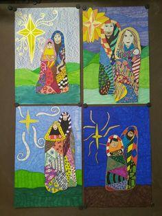 klimpt inspired holy family 5th grade art elementary christmas art