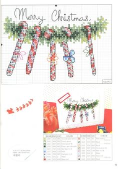 Candy canes on a wreath Cross Stitch Christmas Ornaments, Xmas Cross Stitch, Cross Stitch Needles, Cross Stitch Cards, Christmas Cross, Cross Stitching, Cross Stitch Embroidery, Merry Christmas, Christmas Candy