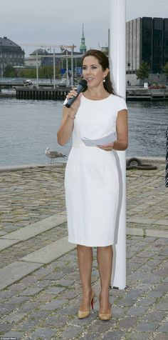 Stunning: Denmark Crown Princess Mary participated in the networking event Women Deliver where she wore a white figure-hugging dress teamed with a pair of nude Louboutin heels