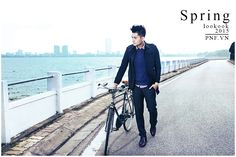 Step alone... Style for classic man with caro motifs: coat, shirt, trousers and colour sweater. PhanNguyen fashion's model