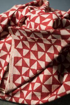 Red Flight Hand Block Printed Cotton by Merchant & Mills Washing Machine Drum, Merchant And Mills, Textile Fabrics, Fabric Patterns, Printed Cotton, Printing On Fabric, Needlework, Diy Crafts, Creative