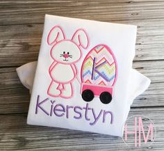 Easter Bunny With Wagon Personalized Appliqued by HMembroideryCo
