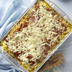 Baked Spaghetti - made it for the college kids to take to school! They loved it!