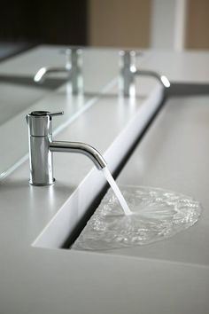 Custom bathroom trough sink sink 7 Reasons Why a Trough Bathroom Sink Is So Popular Today Contemporary Bathrooms, Modern Bathroom Design, Bathroom Interior Design, Modern Bathroom Sink, Contemporary Decor, Modern Design, Contemporary Stairs, Contemporary Building, Contemporary Cottage