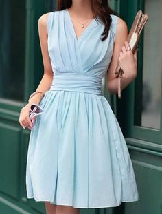 Blue Sleeveless Chiffon Ruffle Dress