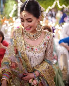 Beautiful Eisha on her dholki ajstudioofficial Makeup nabila_salon Outfit by Pakistani Wedding Outfits, Pakistani Wedding Dresses, Bridal Outfits, Nikkah Dress, Mehndi Outfit, Bridal Mehndi Dresses, Shadi Dresses, Pakistani Couture, Indian Gowns