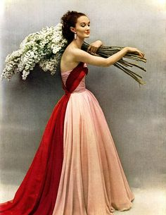 """Harper's Bazaar, May 1952  It's the """"To Catch a Thief"""" Grace Kelly dress in RED!! Be still my heart!"""